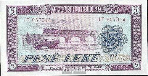 Albania Pick-No.: 42a bankfrisch 1976 5 Leke (Banconote) Prophila