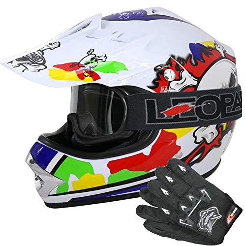 Brille} Orange S 49-50cm ECE Genehmigt Crosshelm Kinderquad Off Road Enduro Sport Handschuhe Leopard LEO-X19 Kinder Motocross MX Helm { Motorradhelm