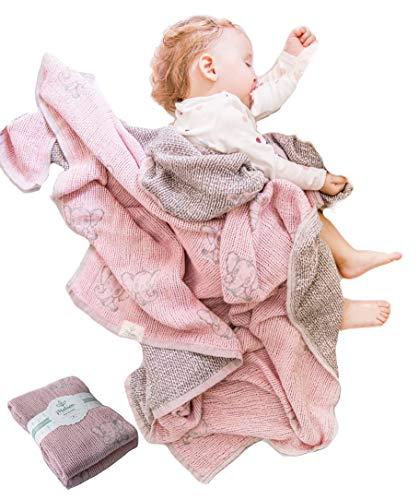 Lightweight Baby Blankets for Girls Boys-Mebien Stroller Crib Nursery Bedding Blanket Quilt Swaddle -Infant Toddler Newborn Unisex -Baby Shower Registry Gifts- Jacquard Elephant Rose&Grey 43x47 from MEBIEN. TOUCHE DE LA NATURE...