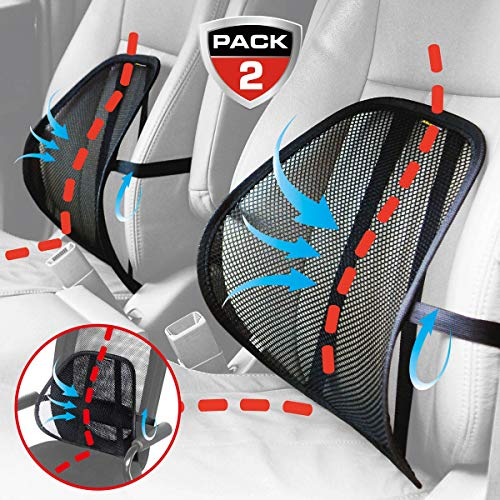 Lumbar Support, Maxxprime Mesh Back Cushion 2 Pack Lower Back Support, Double Mesh Lumbar Cushion Air Flow Breathable Back Support Cushion for Use in Car Home and Office by MAXXPRIME