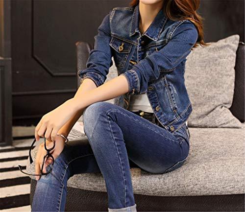 Manteau Veste Coats Femmes en Blouson Blue Manche Dcontracte WLITTLE Longue Denim Jean 140w55fq
