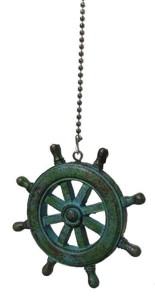 Nautical ocean BEACH theme ceiling FAN PULL light chain extension (Ship's Wheel)