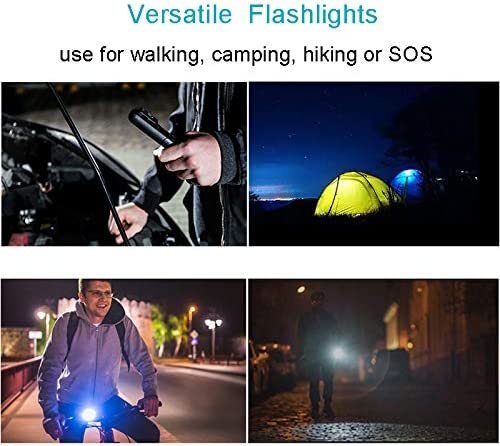 LED Flashlight Handheld Torch Light, Bright Adjustable Focus Water Resistant, for Camping Hiking Outdoor Emergency (Batteries 18650 Included),A