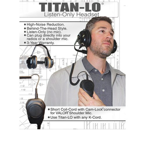 Klein Titan Listen Only Cable To Connect Valor Shoulder Speaker Microphone to Titan Listen Only Headset