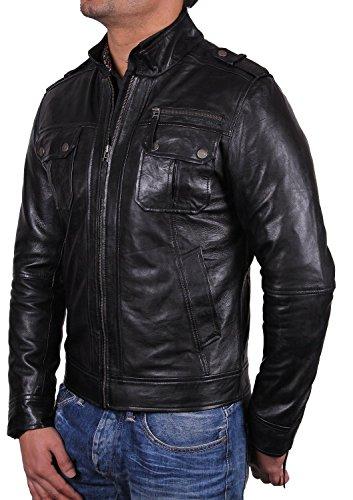Brandslock Para hombre motorista chaqueta de cuero