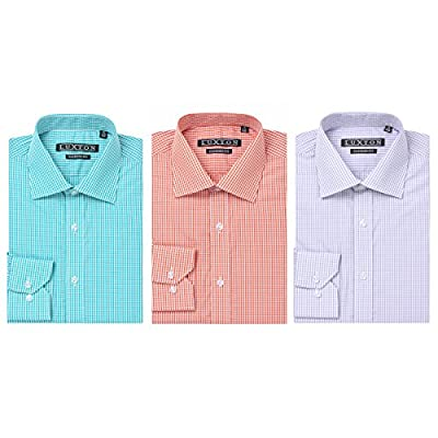 Verno Luxton 100% COTTON Non Iron Fashion Fit Long  Sleeve Plaid Dress Shirt --The Most Popular Colors