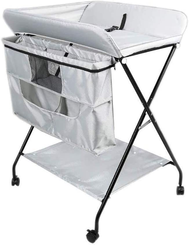 G-おむつテーブル ポータブル幼児おむつ駅看護マッサージYuezi看護センター旅行ホームストレージのための大空間、と表の赤ちゃんを変更します (Color : Silver)