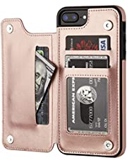 iPhone 7 Plus iPhone 8 Plus Wallet Case with Card Holder,OT ONETOP Premium PU Leather Kickstand Card Slots Case,Double Magnetic Clasp and Durable Shockproof Cover 5.5 Inch