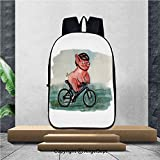 Lightweight Backpacks Casual School Bags,Cycling pig character Watercolor painting Vector illustration,16.5'x11.4'x6.3',Suitable for school backpacks