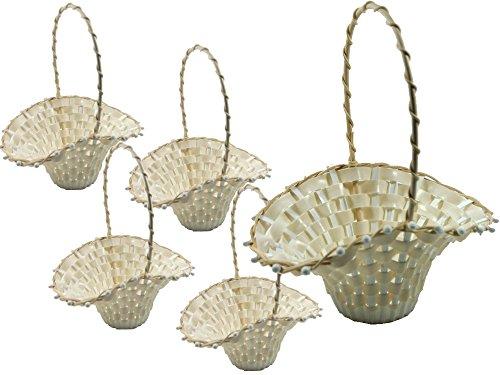 SET - 5 Stück Blumenkinderkörbchen Biedermeierkorb CREME GROSS, ca. 24 x 17 cm