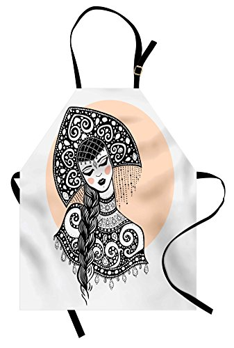 Ambesonne Russian Apron, Ethnic Slavic Woman in Folk Clothes Ornamental Moscow Graphic Art, Unisex Kitchen Bib Apron with Adjustable Neck for Cooking Baking Gardening, Black White and Pale Peach