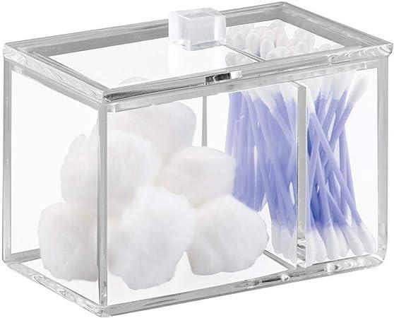 iDesign Caja de almacenaje con tapa, resistente dispensador de algodón y bastoncillos en plástico, bote algodonero para baño con dos compartimentos, transparente: Amazon.es: Hogar