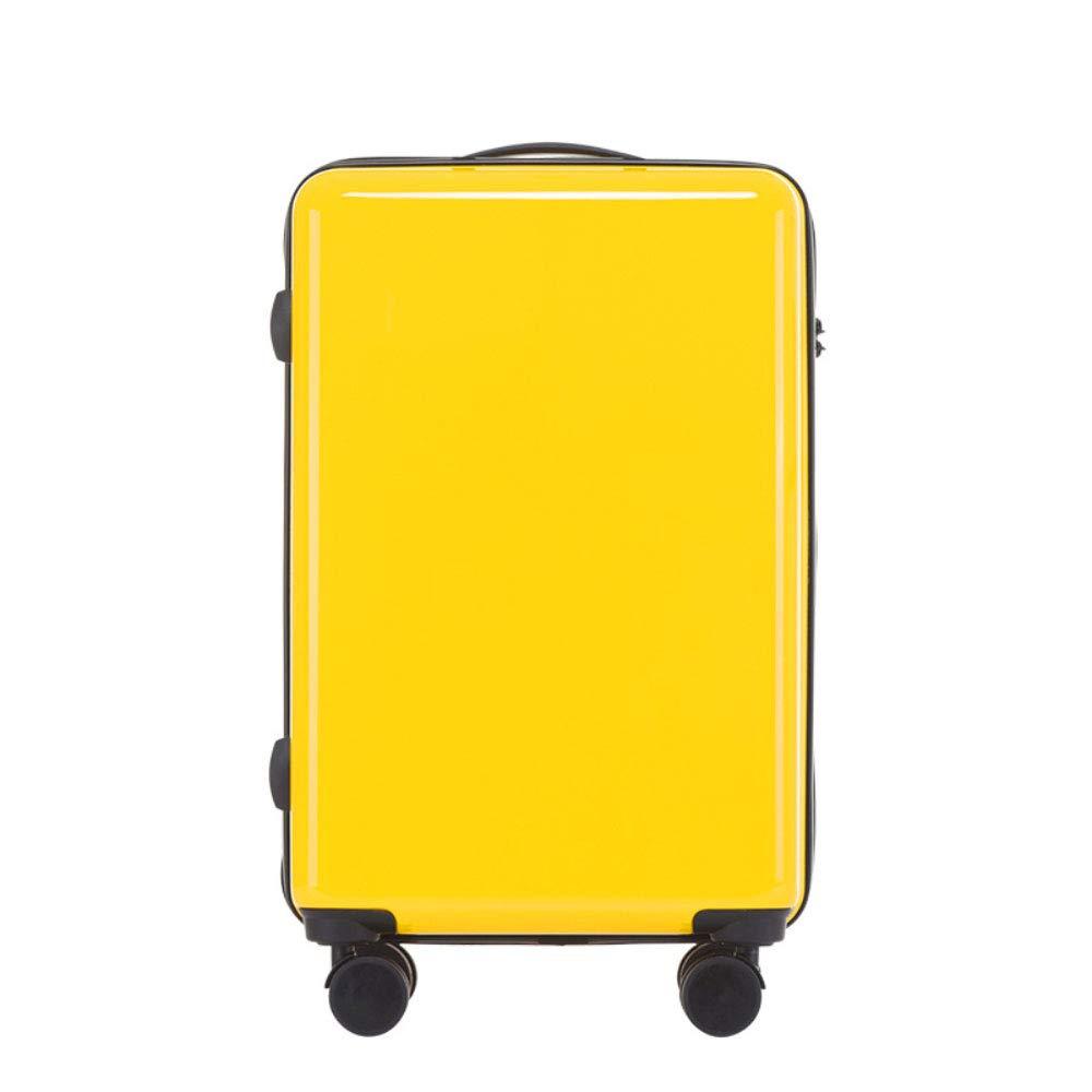 スクラッチプルーフユニバーサルホイールトロリーケース24インチスーツケース20インチボーディングソリッドカラーサンディングボックス (Color : 黄, Size : 18 inches)   B07RBT1R64