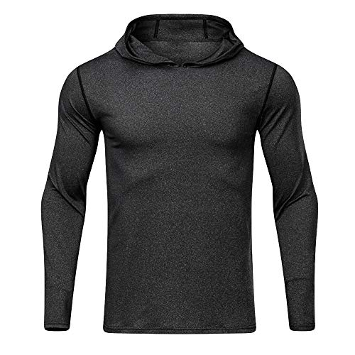 JPJ(TM) New❤️Men Blouse❤️Men's Autumn Winter Fashion Sports Fitness Long Sleeved T-Shirt Hooded Loose Elastic Fast Dry Tops (Dark Gray, - T-shirt Winter Long Sleeved Plaid