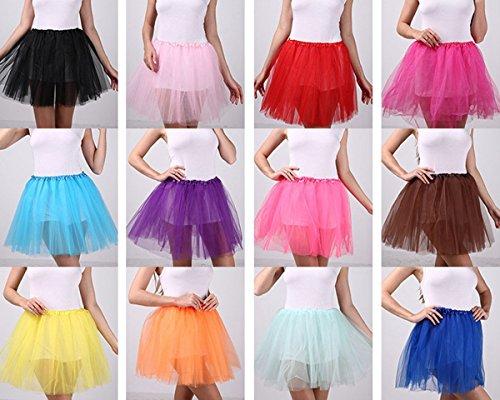 FEOYA Adultos Mujer Mini Falda de Tul Tutú Princesas Ballet Fiesta Disfraz Skirt Pettiskirt Negro