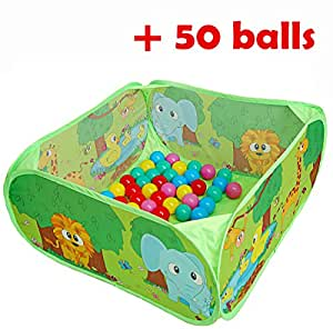 Ball Pit Comes Together with 50 Balls Baby Pop-up Ball Pool with Balls