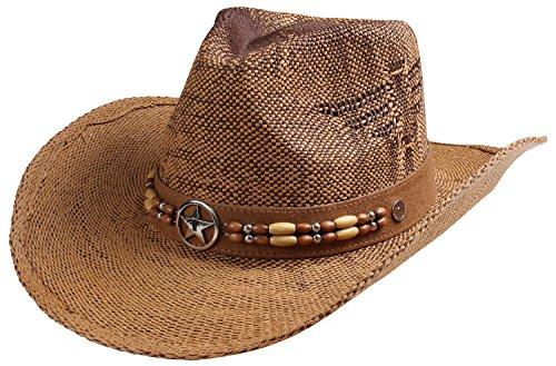 Classic Straw Cowboy Cowgirl Hat Western Outback w/Wide Brim - G]()