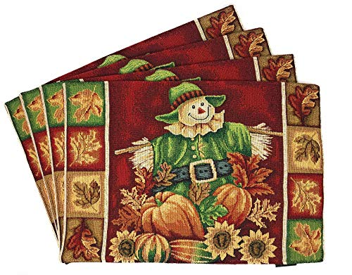 - Tache Pumpkin Patch Scarecrow Thanksgiving Autumn Fall Leaves Vintage Farm Harvest Burgundy Decorative Woven Tapestry Placemats, 13x19