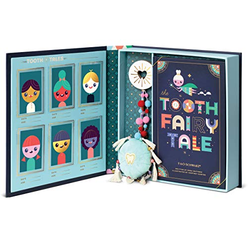 FAO Schwarz Tooth Fairy Tale Book and Keepsake Box, Includes Tooth Pillow, Fairy Wand and Scrapbook, First Lost Tooth Diary, Save Images of Your Child, Written by Rhea Mattson