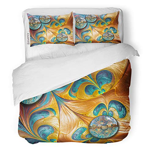 - Semtomn Decor Duvet Cover Set Full/Queen Size Colorful Abstract 3D Rendering Combo Fractal on and Buttons 3 Piece Brushed Microfiber Fabric Print Bedding Set Cover
