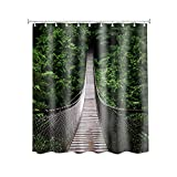 General Hawaii Wildlife Nature Rope Walkway Through The Trees Customize Waterproof Polyester Fabric Bathroom Shower Curtain 6672 Inch
