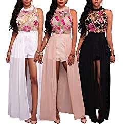 Women\'s Sleeveless Floral Chiffon Maxi Dresses Overlay Rompers Jumpsuit Playsuit White XL