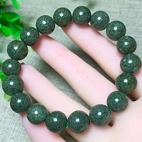 WANZIJING Unisex Bracelet, 12mm Green Gem Semi Precious Gemstone Beads Bracelet Handmade Stretch Bracelets for Men and Women