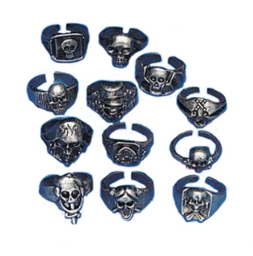 Lot of 12 Metal Skull Rings Kids Pirate Party Favors