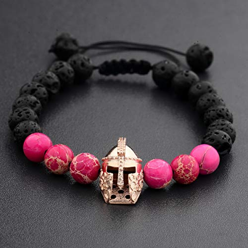 Hebel Charm Men Gold Silver Spartan Helmet Natural Red Agate Gem Gasket Woven Bracelet | Model BRCLT - 33490 |