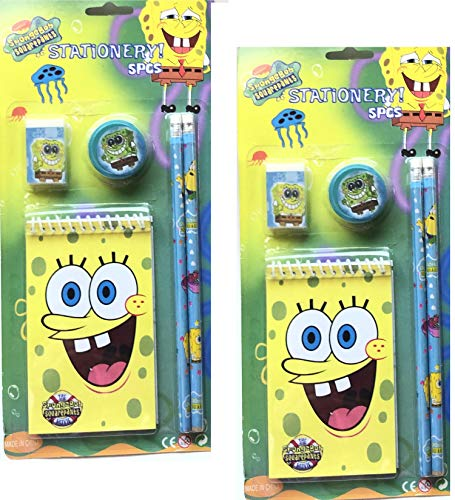 SpongeBob SquarePants 5 Piece School Study Stationery Sets Includes Pencils, Pencil Sharpener, Eraser, Memo Pad - 2 Sets -