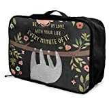 Luggage Bag Travel Duffel Bag Waterproof Be In Love Sloth Fruit Flower Lightweight Large Capacity Portable Storage Bag