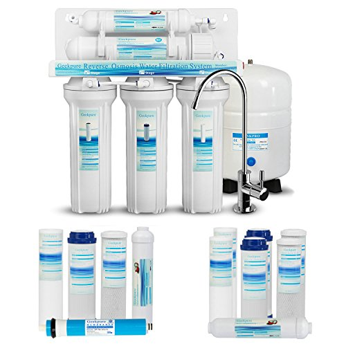 Geekpure 5-Stage Reverse Osmosis Drinking Water Filter System with Extra 7 pcs Free Filters-75GP