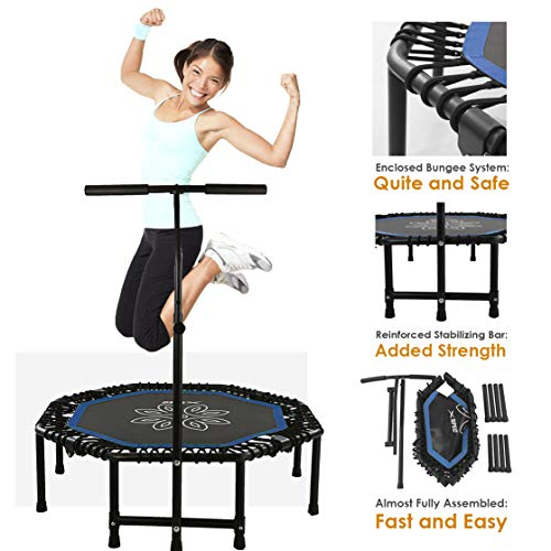 Xspec Silent Fitness Mini Trampoline with Adjustable Handrail Bar – Indoor Rebounder for Adults – Best Urban Cardio Jump Fitness Low Impact Workout Trainer, Covered Bungee Rope ()