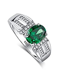 Merthus 925 Sterling Silver Created Emerald Engagement Ring for Women