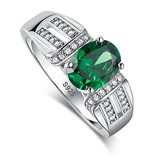 Merthus 925 Sterling Silver Couples Victorian Style Created Emerald Cathedral Band Anniversary Solitaire Ring for Women - Lab Created Emerald Ring