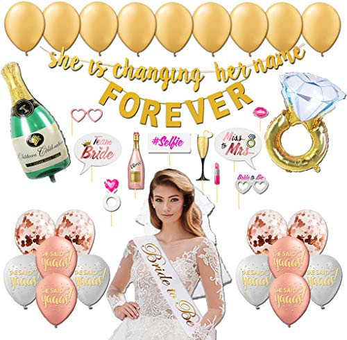 Golden Shop Bachelorette Party Decorations Kit | Bridal Shower Supplies - Bride to Be Sash,Veil, Ring Foil Balloon, Champagne Bottle Foil Balloon, 2 Gold banners,10 Photo Booth Props,21 Latex Balloons]()