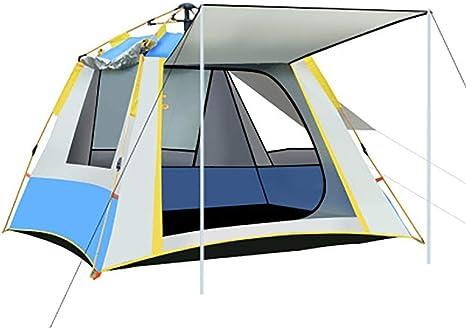 Tiendas de campaña para niños al Aire Libre, Azul 3-4 Hombre Tienda Impermeable Camping Tienda con Tres Ventanas 1500 mm para el Festival de Inicio al Aire Libre Senderismo: Amazon.es: Deportes y