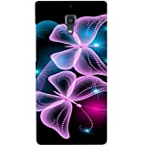 Casotec Butterflies Neon Light Design Hard Back Case Cover for Xiaomi Redmi 1S