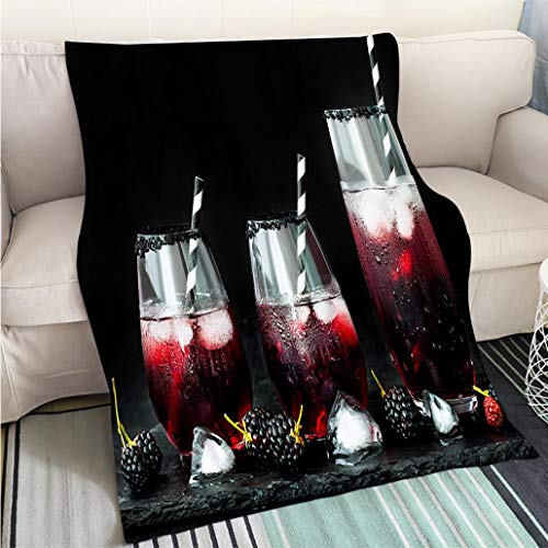 (BEICICI Luxury Super Soft Blanket BlackBerry Drink in Glasses for Fall and Halloween Parties Fun Design All-Season Blanket Bed or)