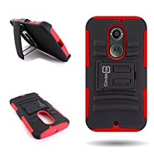 CoverON® for Motorola Moto X (2nd Gen, 2014) Belt Clip Holster Case [Explorer Series] Hybrid Heavy Duty Protective Phone Cover with Kickstand - ( Red / Black )