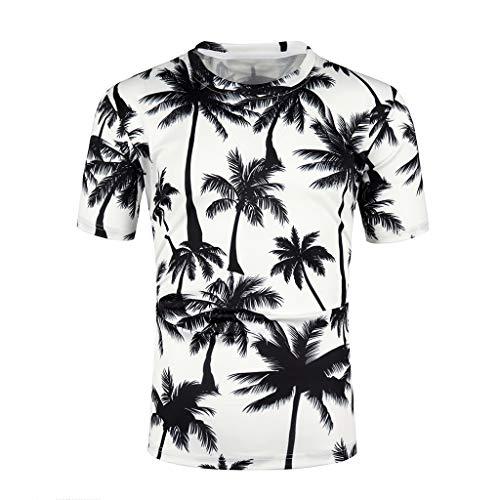 YAYUMI 2019 Mens Fashion Print Short Sleeve Casual T-Shirt Tops Blouse White