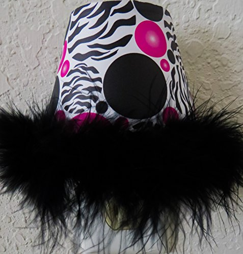 Zebra Print Dots Night Lights with Hot Pink and Black Polka Dots and a Black Boa At ()