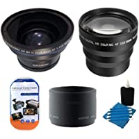 3.5x Telephoto & 0.43X Wide Angle Lens Kit For Canon Powershot G7 G9 Includes 0.43x Fisheye Lens + 3.5X Telephoto Lens + Extras