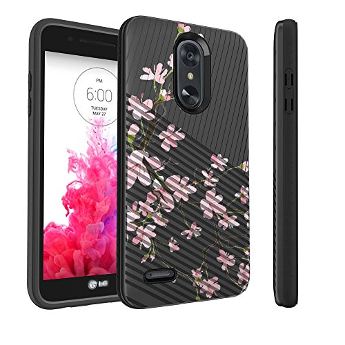 - Untouchble | Case for LG Aristo 2, LG Fortune 2, LG Tribute Dynasty, Rebel 3 LTE, Risio 3, Zone 4 Case [Stripe Force] Embossed Dual Layer Slim Textured Case - Pink Cherry Blossoms
