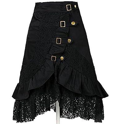 Benrisstore Women's Steampunk Gothic Vintage Cotton Lace Skirts Black Gypsy Hippie