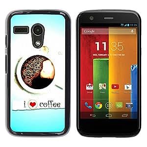 For Motorola Moto G 1 1ST Gen - Design I Love Coffee /Caja protectora de pl???¡¯????stico duro de la cubierta Dise???¡¯???¡Ào Slim Fit/ - Super Marley Sh
