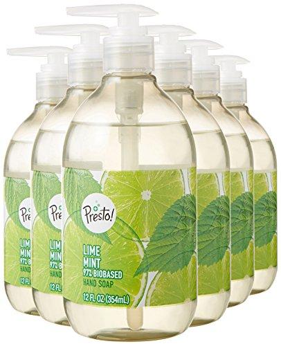 Amazon Brand - Presto! Biobased Hand Soap, Lime Mint Scent (6 pack)