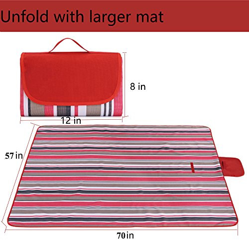 """Hyan Water-Resistant Camping Picnic Blanket 57""""x70"""" Washable Large Compact Outdoor Foldable Portable Tote Mat Red from Hyan"""
