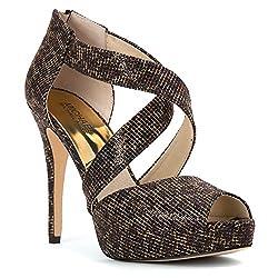 MICHAEL Michael Kors Women's Ariel Platform Cheetah Brown Cheetah Glitter Platform 9 M