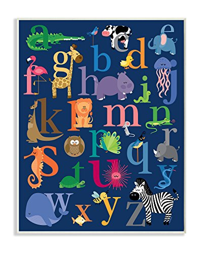 Alphabet Nursery Wall Art - Stupell Home Décor Navy Alphabet Animal Icons Wall Plaque Art, 10 x 0.5 x 15, Proudly Made in USA